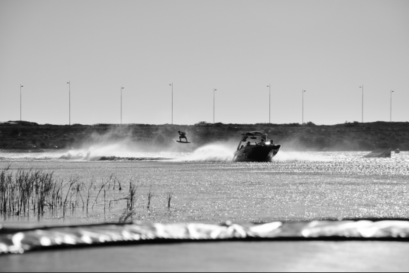 Extreme wakeboarding - Dylan during a heat at the nationals, wind was gusting of 40 knot