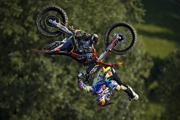 Levi Sherwood, currently 1st in the Red Bull X-Fighters standings performs a Shaolin Backlflip at the Munich Stop
