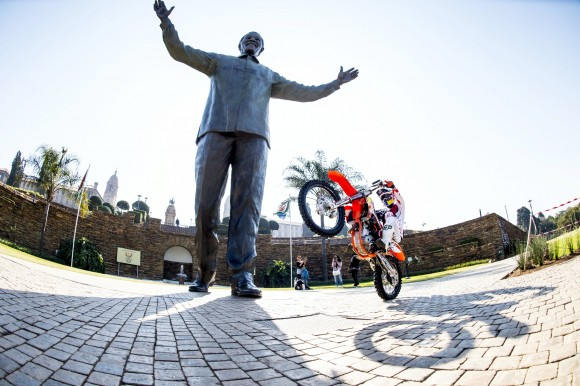 Local Hero Nick de Wit gears up for the Red Bull X-Fighters event on 23 Aug as Madiba looks on