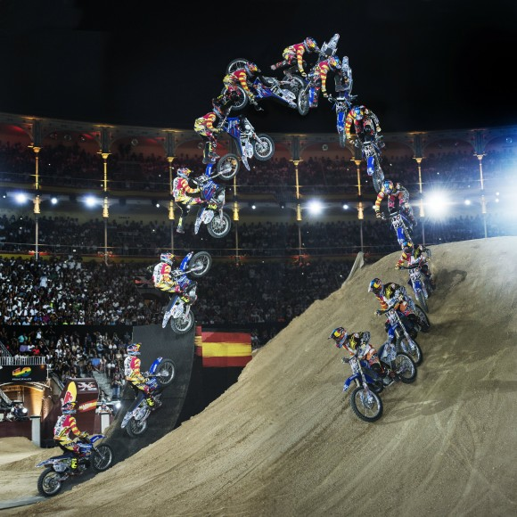 Tom Pagès performs his one-of-a-kind bikeflip at the Red Bull X-Fighters World Tour stop in Madrid in June 2014